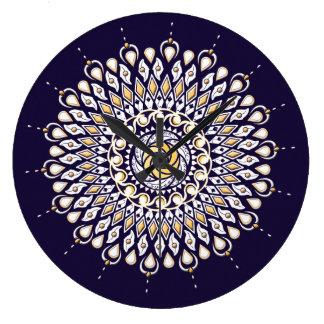 Blau-und Goldlinse-Mandala-Wanduhr Große Wanduhr