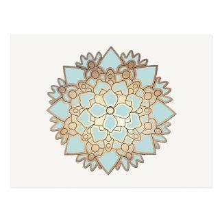Blau-und Goldlotos-Blumen-Postkarte Postkarten