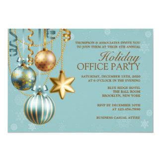 Blau und Goldunternehmensfeiertags-Party Einladung