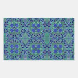 Blau und Grün Rechteckige Sticker