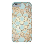 Blau-und Imitat-Goldblatt-Lotos-Blume Barely There iPhone 6 Hülle