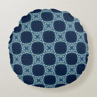 Blau-und Indigo-Muster Rundes Kissen