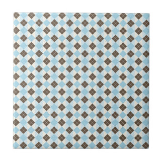 Blau und klassisches Rauten-Muster Browns Fliese