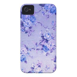 Blau-und Lavendel-strukturiertes mit Blumenmuster iPhone 4 Case-Mate Hüllen