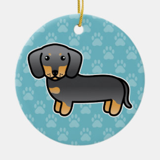 Blau und Mantel-Dackel-Cartoon-Hund TANs glatter Keramik Ornament