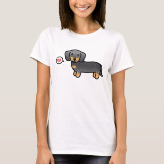 Blau und Mantel-Dackel-Cartoon-Hund TANs glatter T-Shirt