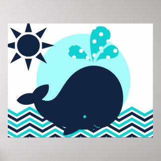 Blau-und Marine-Wal-Kinderzimmer-Plakat Poster