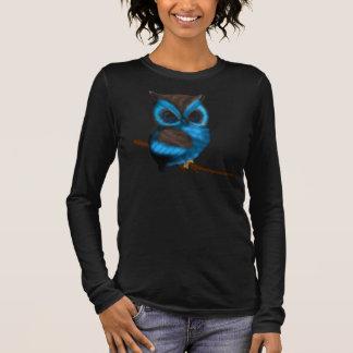 Blau und niedliche Eule Browns auf Niederlassung Langarm T-Shirt