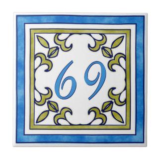 Blau-und Olivgrün-große Hausnummer Kleine Quadratische Fliese