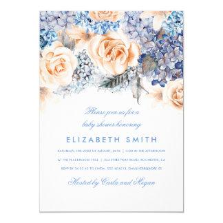 Blau-und Pfirsich-Aquarell-BlumenBabyparty 12,7 X 17,8 Cm Einladungskarte