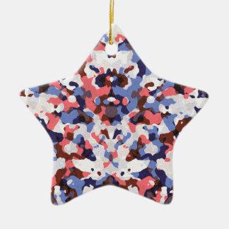 Blau und rotes Tarnungsmuster Keramik Stern-Ornament