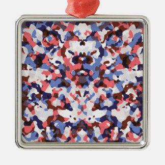 Blau und rotes Tarnungsmuster Quadratisches Silberfarbenes Ornament