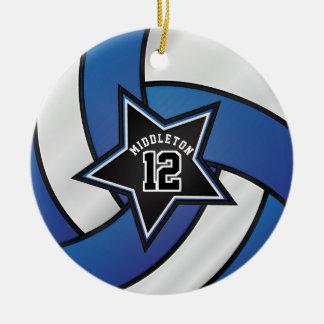 Blau-und Schwarz-Stern-Volleyball Keramik Ornament