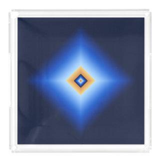 Blau und TAN-Diamant Acryl Tablett