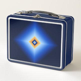 Blau und TAN-Diamant Metall Lunch Box