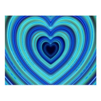 Blau-und Türkis-Neon beleuchtete Herzen Postkarte