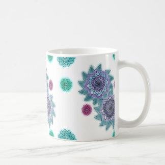 Blau und Türkis Watercolor-Blumen Kaffeetasse