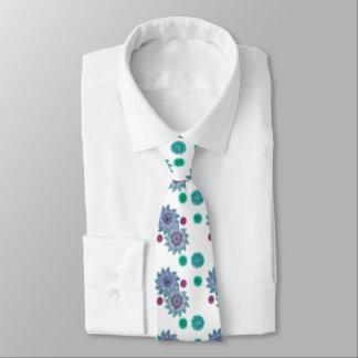 Blau und Türkis Watercolor-Blumen Krawatte