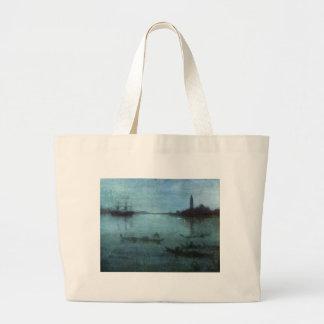 Blau und versilbern Sie die Lagune Venedig Jumbo Stoffbeutel