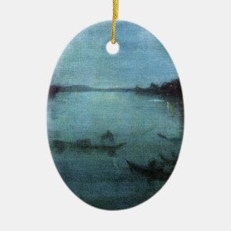 Blau und versilbern Sie die Lagune Venedig Keramik Ornament