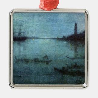 Blau und versilbern Sie die Lagune Venedig Silbernes Ornament