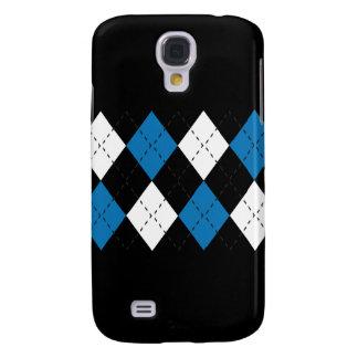 Blau und Weiß auf schwarzem Kasten der Rauten-iPho Galaxy S4 Hülle