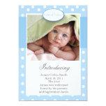 Blau und Weiß punktiert vertikale Geburts-Mitteilu Ankündigungskarte
