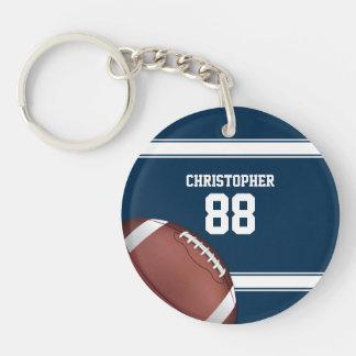 Blau und Weiß Stripes Jersey-Fußball Beidseitiger Runder Acryl Schlüsselanhänger