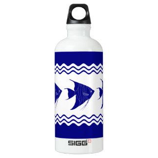Blau-und weißerküstendekorAngelfish der Marine-3 Aluminiumwasserflasche