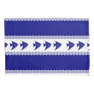 Blau-und weißerküstenmusterAngelfish der Marine-3 Kissenbezug
