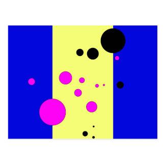 Blau und yelow mit rosa-schwarzen Blasen Postkarte