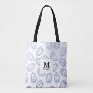 Blau verlässt Muster-Monogramm-Taschen-Tasche Tasche