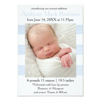 Blau/Weiß Stripes Foto - Geburts-Mitteilung 12,7 X 17,8 Cm Einladungskarte