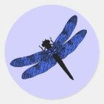 Blau Winged Libelle Runde Sticker