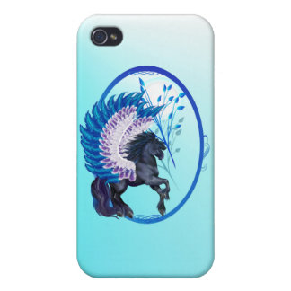 Blau Winged Pegasus-Oval iPhone 4/4S Cover