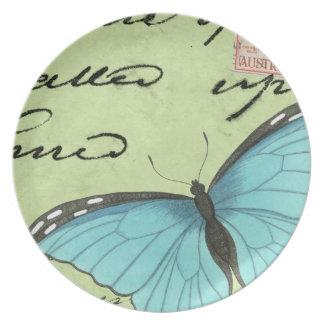 Blau-Winged Schmetterling auf aquamariner Flache Teller