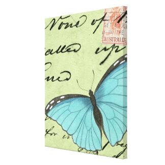 Blau-Winged Schmetterling auf aquamariner Leinwanddruck