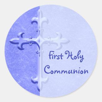Blau-zuerst heilige Kommunions-Aufkleber