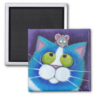 Blaubeere und kleiner Mousey Magnet Quadratischer Magnet