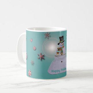 Blaubelag-Schneemann frohe Feiertage Kaffeetasse