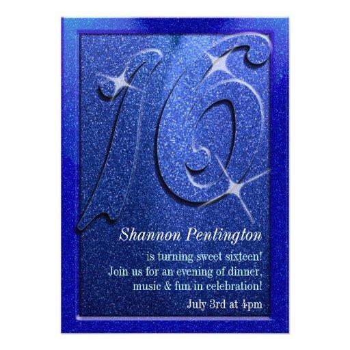 Blaue 16. Geburtstag-Geburtstags-Party Einladungen