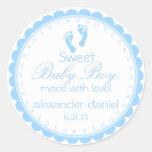 Blaue Abdruck-Baby Dusche Runde Sticker