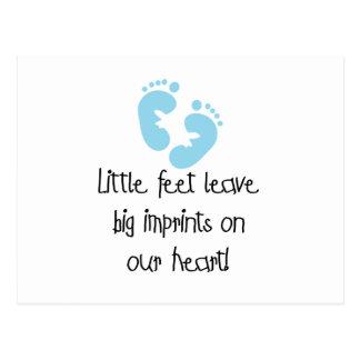Blaue Abdruck-kleine Fuß-große Impressen Postkarte