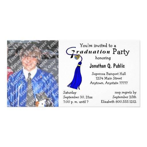 Blaue Abschluss-Party-Foto-Einladung Foto Karten Vorlage