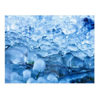 Blaue abstrakte Eiskristall-Wasser-Tropfen Postkarte