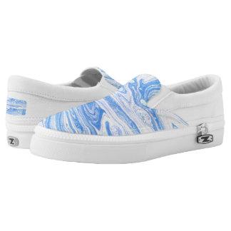 Blaue abstrakte Kunst beschuht Größe 5/5,5 Slip-On Sneaker