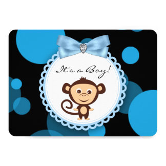 Blaue Affe-Babyparty 11,4 X 15,9 Cm Einladungskarte