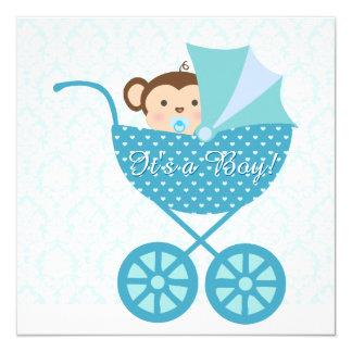 Blaue Affe-Babyparty Quadratische 13,3 Cm Einladungskarte