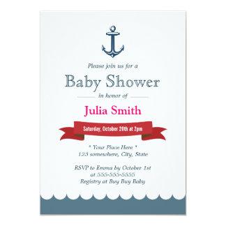 Blaue Anker-Babyparty-nautischeinladungen Einladungen