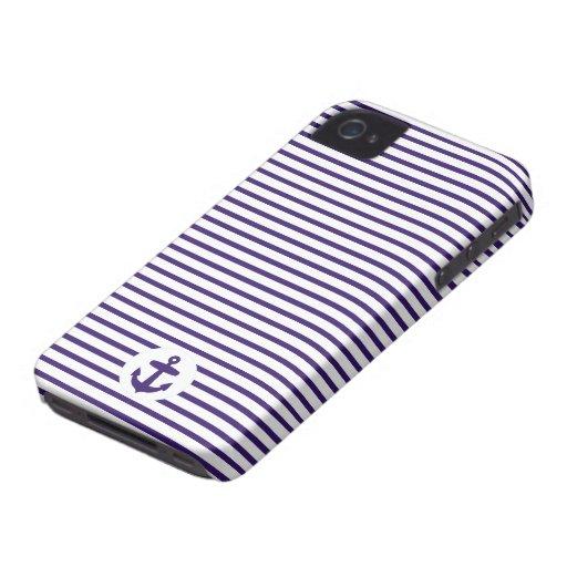 Blaue Anker-und Marine-Blau-Seemann-Streifen iPhone 4 Cover